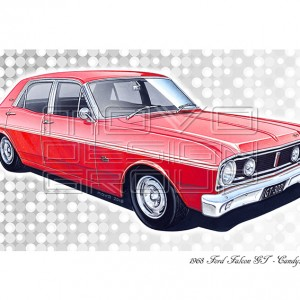 MOVO Design Group - XT GT 1968 Falcon GT 302 V8 - Art print - GT Falcon gift ideas - Candy Apple Red
