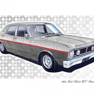 MOVO Design Group - XT GT 1968 Falcon GT 302 V8 - Art print - GT Falcon gift ideas - Stratosphere Grey